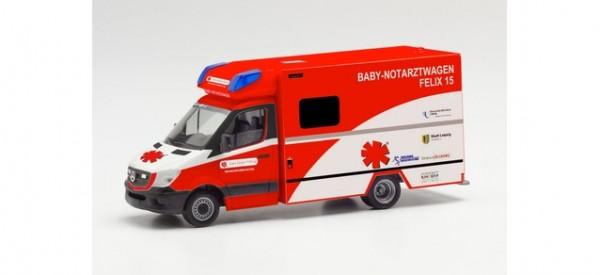 "Herpa MB Sprinter 13 Fahrtec RTW ""Baby Notarzt Felix 15, Klinikum St. Georg Leipzig"" (095983)"