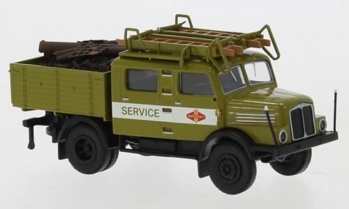 """Brekina: IFA S 4000-1 Bautruppwagen grün """"Fortschritt Service"""" m. Ladegut """"Schrott"""" (71759)"""