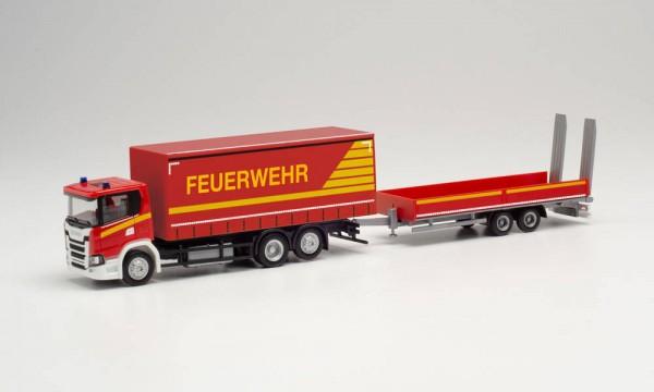 """Herpa: Scania CG 17 Gardinenplanen-LKW mit Tieflade-Anhänger mit Rampen """"Feuerwehr"""" (313926)"""
