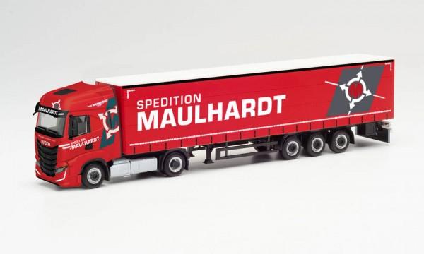 """Herpa Iveco S-Way Gardinenplanen-Sz. """"Spedition Maulhardt"""" (313506)"""