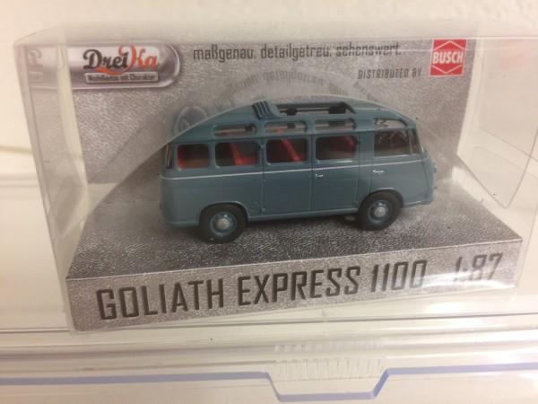 Dreika: Goliath Express 1100 Luxusbus hellblaugrau Schiebedach offen (94174)