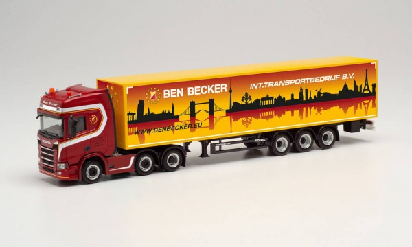 """Herpa: Scania CR 20 HD 6×2 Gardinenplanen-Sz. """"Ben Becker"""" (314091)"""