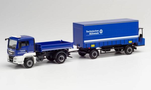 """Herpa: MAN TGS L Euro 6c Kipper-LKW mit Gardinenplanen-Anhänger mit Mitnahmestapler """"THW"""" (312783)"""