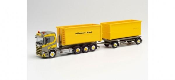 """Herpa Scania CR ND 4-Achs Wechsellader-Hz. m. Abrollmulden """"Dornbierer"""" (312660)"""