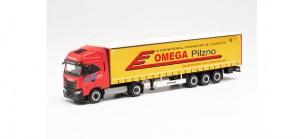 "Herpa: Iveco S-Way LNG Gardinenplanen-Sattelzug ""Omega Pilzno"" (314527)"