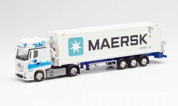 """Herpa MB Actros Gigaspace Seitenlader-Sz. """"GDH/Maersk"""" (313384)"""