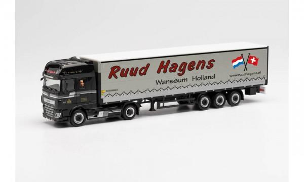 "Herpa DAF XF SSC E6 Gardinenplanen-Sz. m. Bordw. ""R. Hagens"" (NL) (313872)"