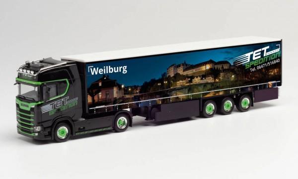 """Herpa Scania CS 20 HD Gardinenplanen-Sz. """"TET/Weilburg"""" (312394)"""