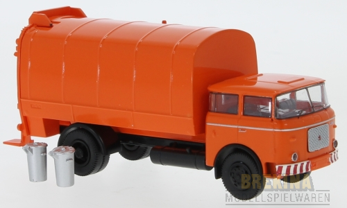 Brekina LIAZ 706 Müllwagen (1970) orange (mit 2 Mülltonnen) (71874)