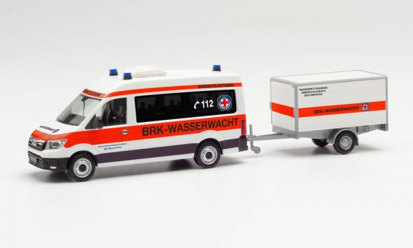 """Herpa MAN TGE Bus HD mit Anhänger """"BRK Wasserwacht Amberg/Sulzbach"""" (096096)"""