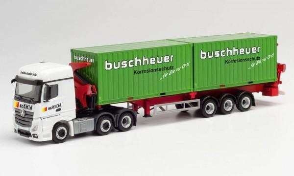 """Herpa Mercedes Actros StSp Hammar Container-Seitenlader """"Schmid Transporte"""" (312059)"""