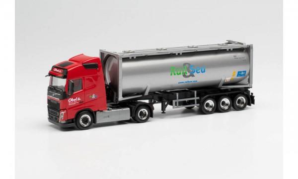 "Herpa Volvo FH Gl 30ft. Drucksilocontainer-Sz. ""Obel"" (313841)"