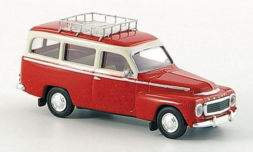 Brekina: Volvo Duett Kombi mit Dachgepäckträger rot/weiß (29309)