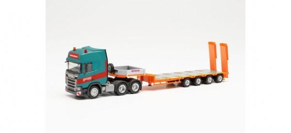 "Herpa: Scania CR 20 HD 6x4 Semitieflade-Sattelzug ""Gruber"" (314220)"