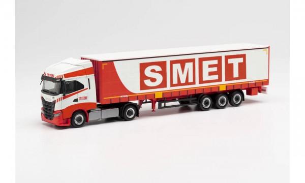 """Herpa Iveco S-Way Lowliner-Gardinenplanen-Sz. """"Smet"""" (I) (313650)"""