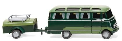 Wiking MB O 319 Panoramabus mit Anhänger dunkelgrün/resedagrün (026004)